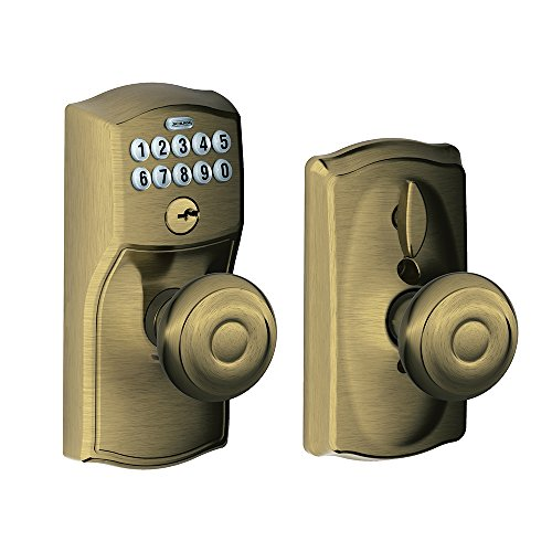 Antique Style Metal Lock - Schlage FE595 CAM 609 GEO Camelot Keypad Entry with Flex-Lock and Georgian Style Knobs, Antique Brass
