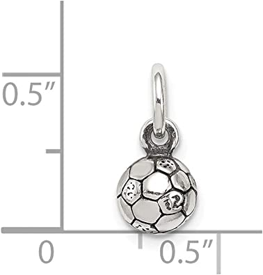 925 Sterling Silver Solid Polished Antique finish Antiqued Soccer Ball Char Pendant