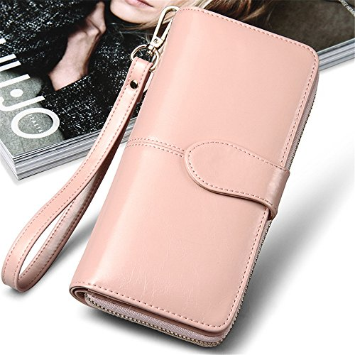 Bi Pink Hand Women's Genuine Mango Clutch bag rabbit fold Long Color Purse Buckle Lovely Leather yellow IqgZx