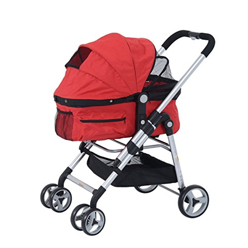 Pawhut Four Wheel Cat/ Dog Pet Stroller - Red