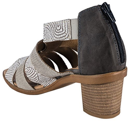 Charme - Sandalias de vestir de Piel para mujer multicolor Blau/Grau/Beige