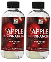 Aromatherapy Hosley's Set of 2 Premium Apple Cinnamon Reed Diffuser Refills Oil, 230 ml (7.75 fl oz) Made in USA. BULK BUY. Ideal GIFT for Weddings, Spa, Reiki, Meditation Settings W1