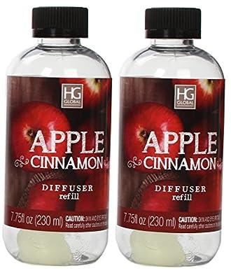Aromatherapy Hosley's Set of 2 Premium Apple Cinnamon Reed Diffuser Refills Oil, 230 ml (7.75 fl oz) Made in USA. BULK BUY. Ideal GIFT for Weddings, Spa, Reiki, Meditation Settings W1