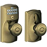 schlage fe595 cam 609 geo camelot keypad entry with flexlock and georgian style knobs antique brass
