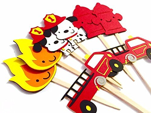 Fireman Cupcake Toppers Set of 12 / Firefighter Cupcake Toppers Fire Firetruck Cupcake Topper Dalmatian Cupcake Topper Fireman Baby Shower -