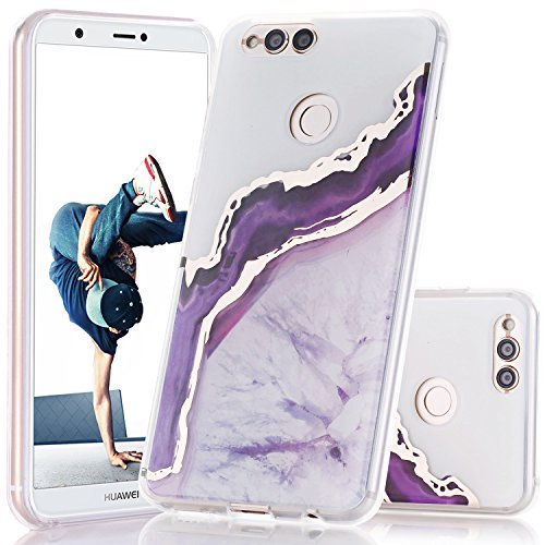 Huawei Mate SE/Honor 7X Case, BAISRKE Shiny Gold Purple Marble Agate Crystal Design Shock Absorption Soft Clear TPU Edge Bumper and Rigid Hard Plastic Back Cover for Huawei Honor 7X/Mate SE