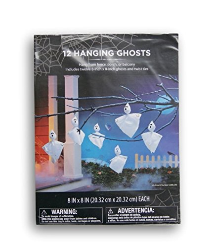 Halloween Outdoor Decorations - 12 Hanging Ghosts (Hanging Ghost Decorations)
