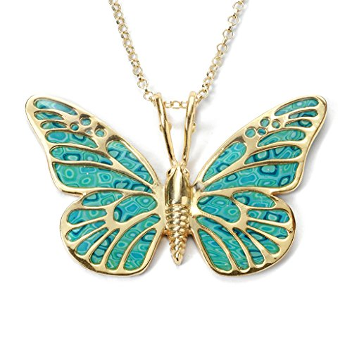 Gold Plated Sterling Silver Butterfly Necklace Pendant Handmade Sea Green Polymer Clay, 16.5
