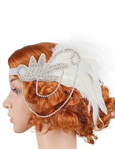 Flapper Girl Silver 1920s Headpiece Vintage Headband Flapper Great Gatsby Costume (Diy Flapper Dress Costume)