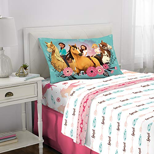 Dreamworks Spirit Riding Free Kids Bedding Soft Microfiber Sheet Set, 3 Piece Twin Size, White]()