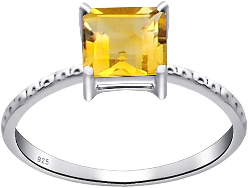 Charme Femmes Argent 925 Anneaux Princesse Citrine//AMETHYSTE anneaux de mariage Taille 6-10
