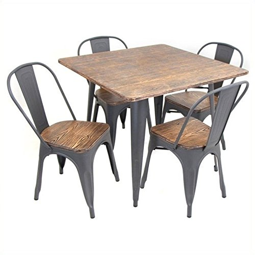 WOYBR DS-TW-OR SQ Bamboo, Metal Oregon 5 Piece Dining Set