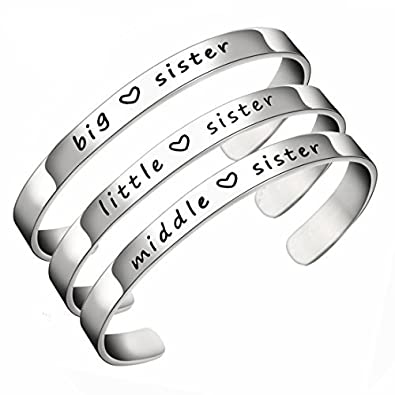d08ce8763de JJTZX Sister Cuff Bracelet Big Sister Middle Sister Little Sister Three Sisters  Bracelets Gift for Sisiters