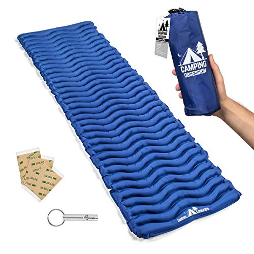 Mats Bag Sleeping - Camping Mat Inflatable Sleeping Pad - Compact & Lightweight for Backpacking - Ultralight Air Mattress Engineered for Comfort – with 3 Repair Patches and Bonus Survival Whistle (Admiral Blue)