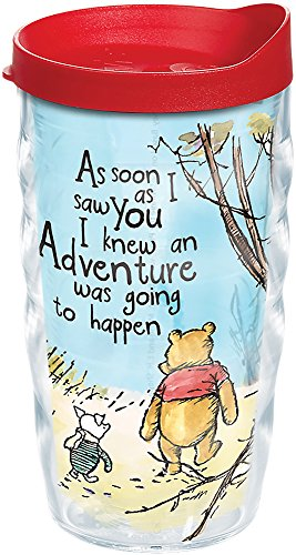 Tervis 1269525 Disney - Winnie the Pooh Adventure Insulated Tumbler with Wrap and Red Lid, 10 oz Wavy, Clear