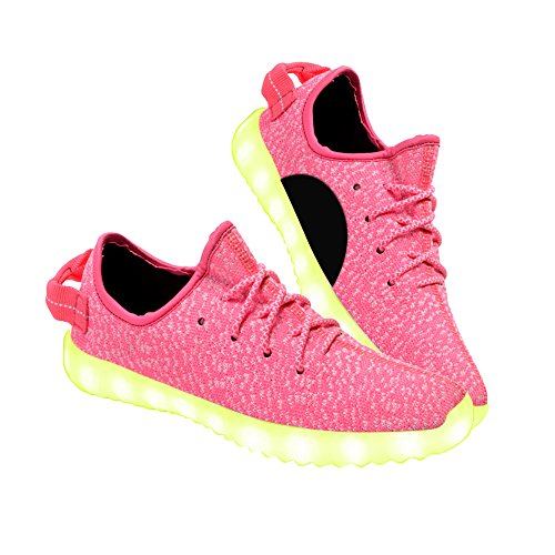 Multi-colored LED Light-up Fashion Shoes Rechargeable USB Lace-up Fancy Party Footwear for Women (8.5, Pink)