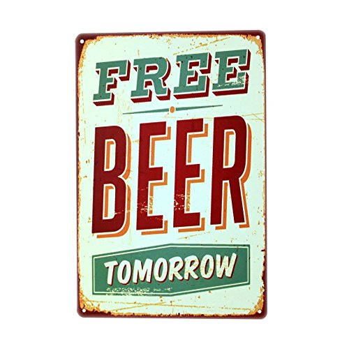 metal Signs PLUMTALL Free Beer Tomorrow Vintage Tin Sign Wall Decor 8 x 12 inches