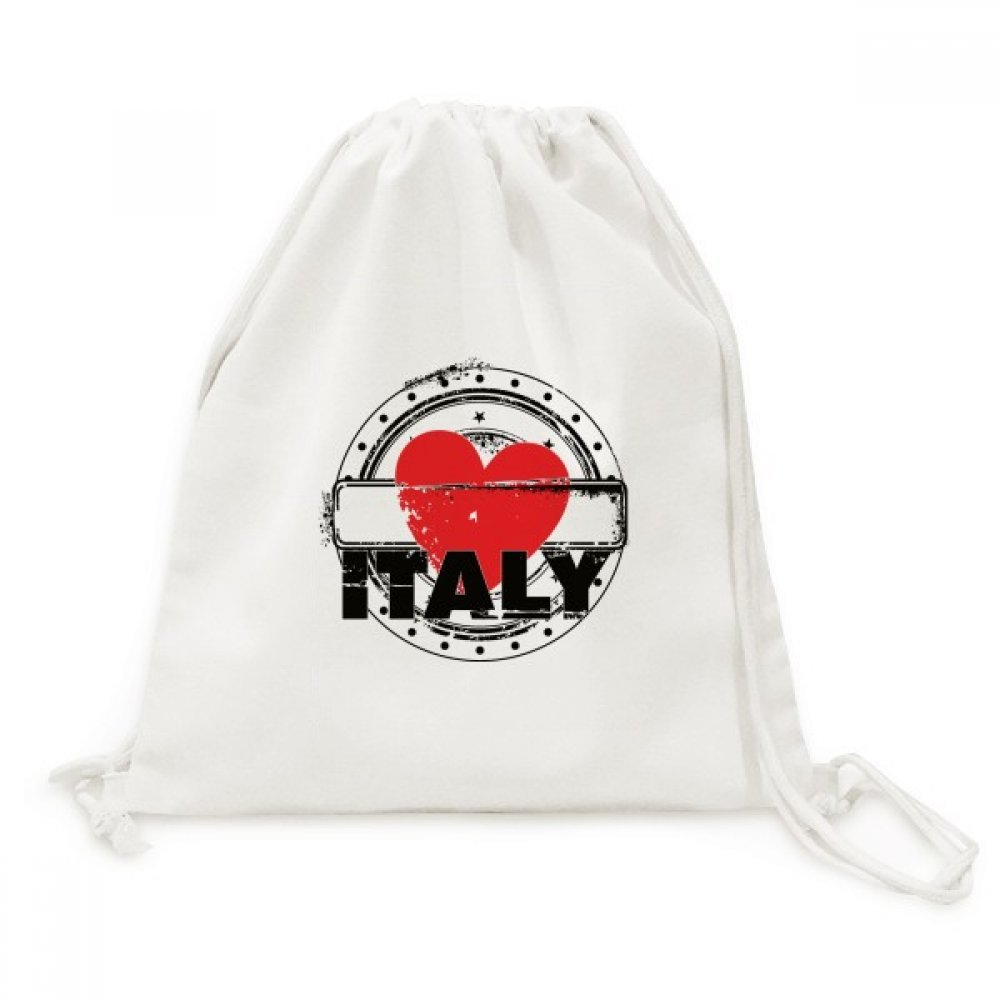 I Love Italy Word Love Heart Circle Shape Canvas Drawstring Backpack Shopping Travel Lightweight Basic Bag Gift
