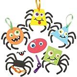 Kit con ragni buffi decorativi da appendere per bambini. Set creazioni fai da te da realizzare, personalizzare ed esporre ad Halloween (confezione da 6)
