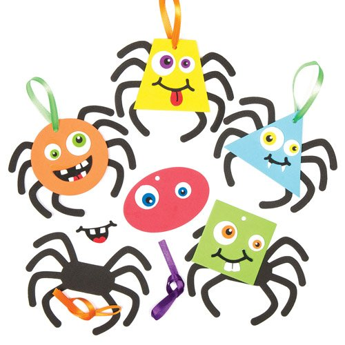 Funky Spider Hanging Decoration Kits Creative Set for Children to Make Personalize and Display as Halloween Crafts (Pack of 6)
