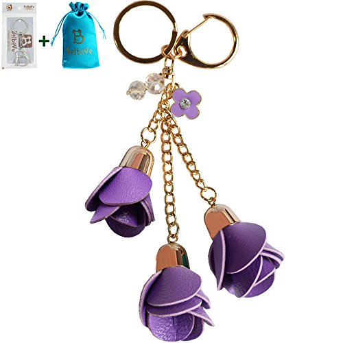 Bolbove Leather Keychain Backpack Flowers