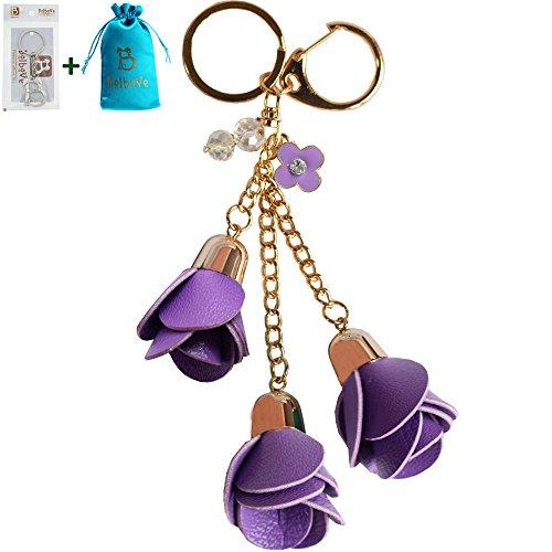 Bolbove 3 Leather Roses Keychain Backpack Flowers Keyring Purse Pendant Handbag Charm (Purple)