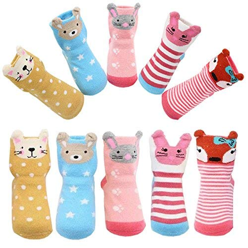 Toddler Girls Non-skid Socks with Grips Cute Cartoon Animal Ankle Socks for 12-36 Months Infant Gift,Pack of 5