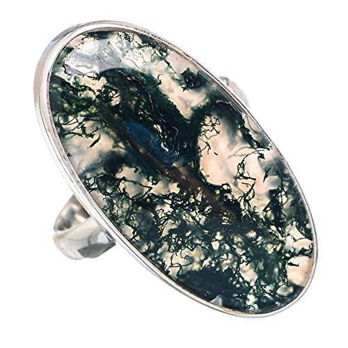 Large Green Moss Agate Ring Size 10 (925 Sterling Silver) - Handmade Boho Vintage Jewelry RING910883 ()
