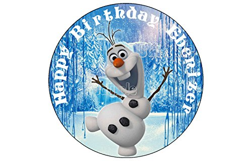 OLAF FROZEN ROUND EDIBLE IMAGE CAKE TOPPER DECORATION sugar sheet PARTY BIRTHDAY PERSONALIZED Anna elsa olaf ()