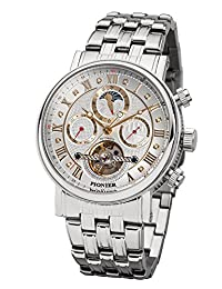 """Pionier - high quality automatic wrist watch Chicago """"All Silver"""" stainless steel with stainless steel strap, two year warranty - 35 Jewels - Made in Germany"""