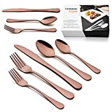 LIANYU 40-Piece Copper Flatware Silverware Set for 8, Stainless Steel Cutlery Eating Utensils Set, Wedding Party Festival Silverware, Mirror Finish, Dishwasher Safe