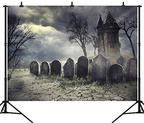 SZZWY 7X5FT(210X150CM) Halloween Cemetery Backdrop Customized Seamless Vinyl Photography Photo Background Studio Prop PGT265A