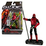"""Hasbro Year 2009 G.I. JOE Movie """"The Rise of Cobra"""" Series 4 Inch Tall Action Figure - Cobra Royal Guard CRIMSON NEO VIPER with Spike Spear, 2 Hatchets, Machete, Elecromagnetic Rifle, Coral Snake with Container, Missile Launcher with 1 Missile and Display Base"""