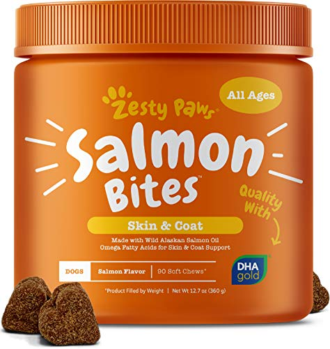 Salmon Fish Oil Omega 3 for Dogs - With Wild Alaskan Salmon Oil - Anti Itch Skin & Coat + Allergy Support - Hip & Joint + Arthritis Dog Supplement - Natural Omega-3 & 6 + EPA & DHA - 90 Chew Treats (Best Dog Coat Supplement)