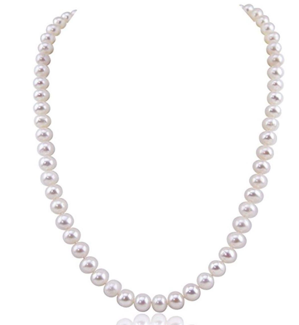 Forever Love Natural A White Cultured Freshwater Pearl Necklace 16'' Great Gift 8-9mm Pearl Beads pn1-16-89