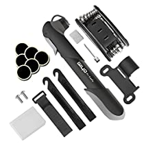 Giwil Premium Bicycle Cycling Bike Tyre Repair Tool Kit Mini Bicycle Pump 16 in 1 Multi Function with Patch Kit & Tire Levers with Glueless Puncture Repair Kit and Tire Levers Frame Mount & Ball Needle,Compatible with both Presta and Schrader