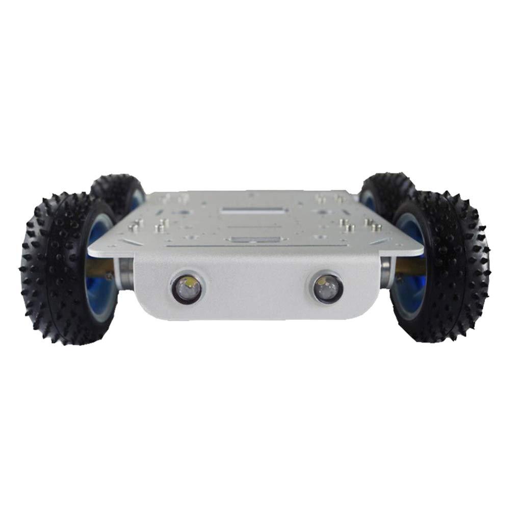 Perfk Aluminium Roboter Tank Chassis Smart Auto Plattform DIY Kit Mit Gleichstrom Motor 9 V/12V Für Fahrzeug - Silber ESPduino Kit 12V
