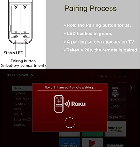 Replacement Enhanced Voice Remote with Headphone Jack Voice Control for Roku 3/ Roku 4/Roku Premiere/Ultra, Compatible with 2015 Newer Model Roku Stick [No TV Power Button] by IKU (Image #3)