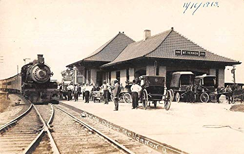 Mount Vernon Ohio Pennsylvania Train Station Depot Real Photo Postcard AA807