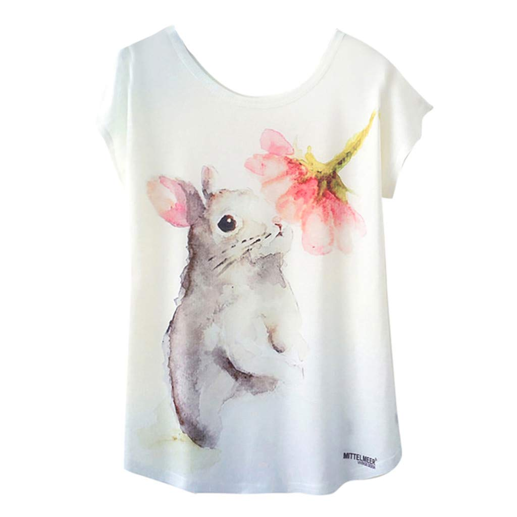 STORTO Womens Teen Girl Cute Dogs Print O-Neck Short Sleeve Loose Tops Blouse