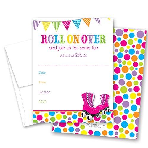 24 Hot Pink Roller Skates Bright Dots Fill in Birthday Invitations