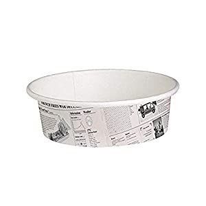 Round Newspaper Print Paper Deli Containers (Case of 50), PacknWood - Disposable Food Container (12 oz, 4.49