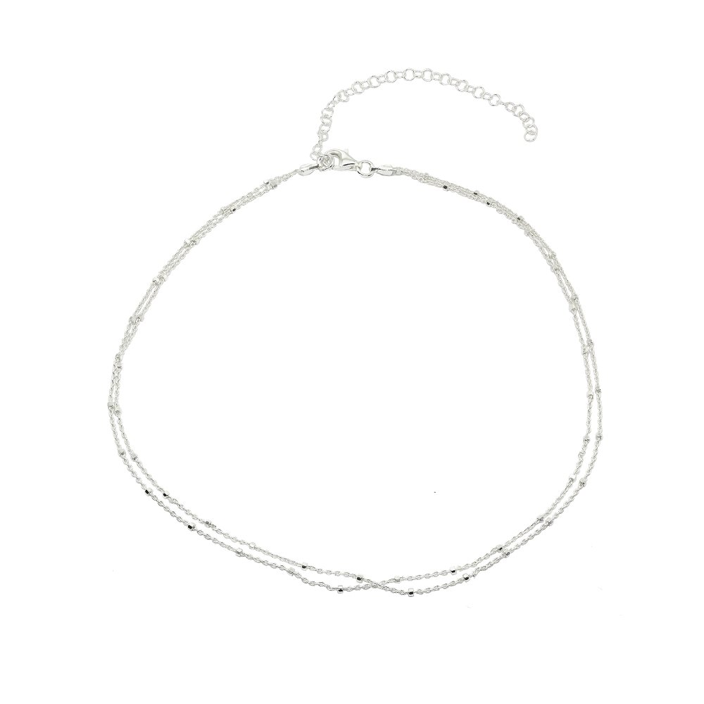 Sterling Silver Italian Dainty Bead and Link Double Strand Chain Choker Necklace