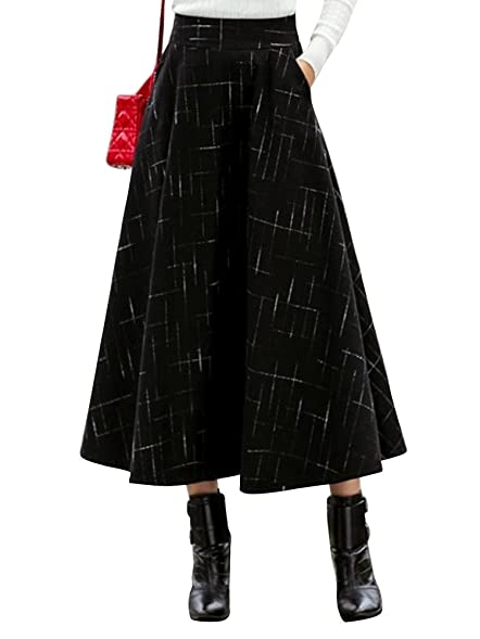 Women's High Waist Vintage Plaid Thick Wool Maxi Skirt Black US 2 - S