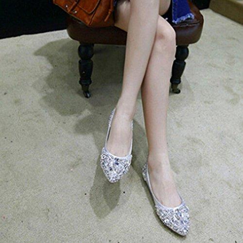 Transer® Damen Flach Mokassins Sommer/Herbst Casual Schuh Künstliche PU+Gummi Sandelholz Slipper(Bitte eine Nummer größer bestellen. Vielen Dank!) Silber