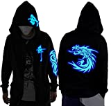 Unisex-Adult/Teens Galaxy Unique Design Hoodie Luminescent Hoody Jacket Glow Lights at Night (L (Asian Size), Blue Wolf Head)