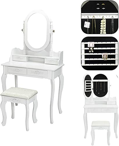 SSLine Wood Makeup Vanity Set Jewelry Cabinet with Mirror Dressing Table with Cushioned Stool Lockable Jewelry Armoires White Finish 2-Piece Vanity Table with Chair