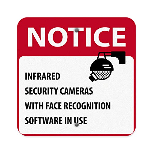 (Notice Infrared Security Cameras with Face Recognition Aluminum Weatherproof Metal Sign Square Street Signs 18INx18IN)