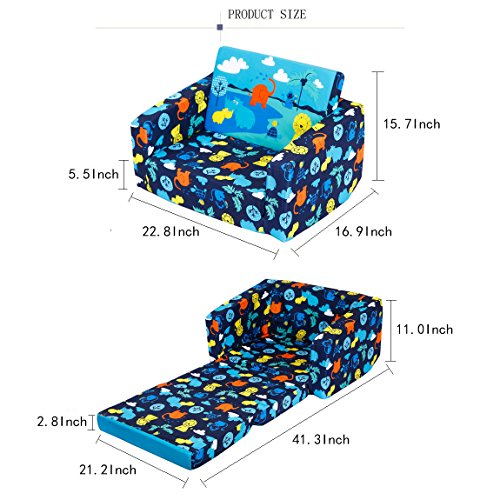 MallBest Kids Sofas Children's Sofa Bed Baby's Upholstered Couch Sleepover Chair Flipout Open Recliner (Blue/Jungle) by MallBest (Image #2)