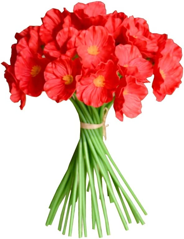 """Mandy's 30pcs Red Artificial Poppy Flower 12.5"""" for Wedding Home & Kitchen PU"""